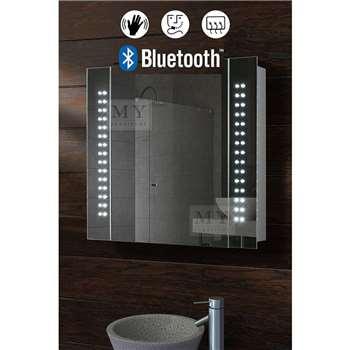 Galactic Illuminated LED Bluetooth Bathroom Mirror Cabinet (80 x 65cm)