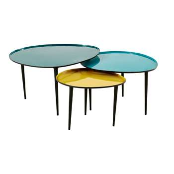 GALET Blue and Yellow Lacquered Metal Nest of Tables (40 x 75cm)
