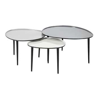 GALET Nest of 3 metal coffee tables (37 x 75cm)