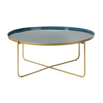 GALET - Round Teal and Gold Metal Coffee Table (H37 x W92 x D92cm)