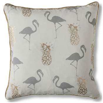 Gallery Flamingo And Pineapples Cushion, Grey (H45 x W45cm)