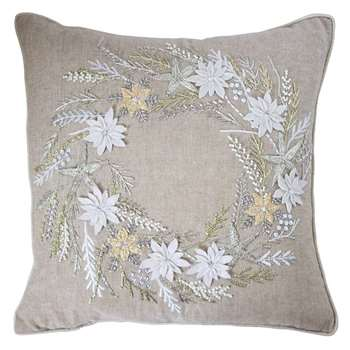 Gallery Wreath Hand Embroidered Cushion (H40 x W40cm)