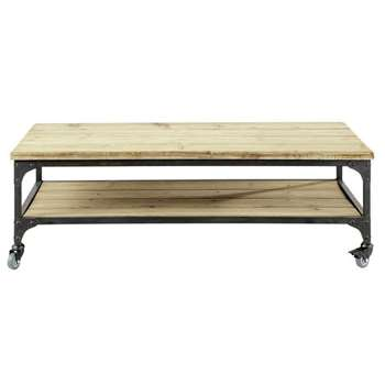 GALLIENI Wood and metal industrial coffee table on castors (35 x 110cm)