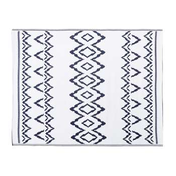 GARA White Outdoor Rug with Blue Graphic Print 150x200 (H150 x W200cm)
