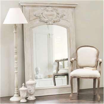 GARANCE wooden trumeau mirror, grey H 180cm