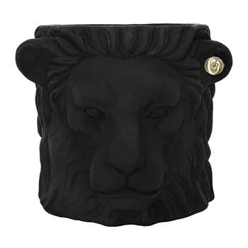 Garden Glory - Terracotta Lion Plant Pot - Large - Black (40 x 30cm)