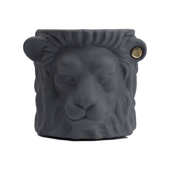 Garden Glory - Terracotta Lion Plant Pot - Small - Grey (20 x 20cm)