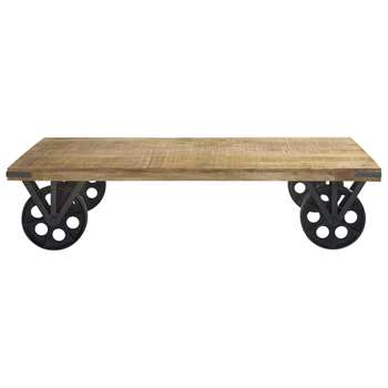 GARE DU NORD Wood and metal coffee table on castors (33 x 145cm)