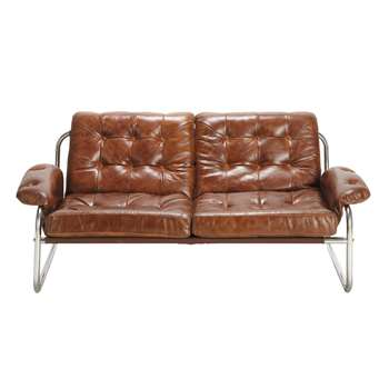 GARY 2 seater leather vintage sofa in brown (70 x 160cm)