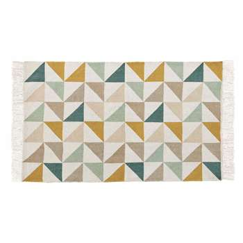 GASTON cotton rug with triangle motifs (60 x 100cm)
