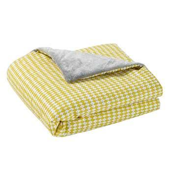 GASTON yellow/grey cotton throw (75 x 100cm)