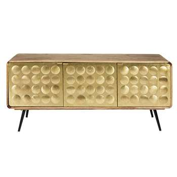 GATSBY 3-door dresser in solid mango wood and gold-effect metal (H75 x W175 x D45cm)