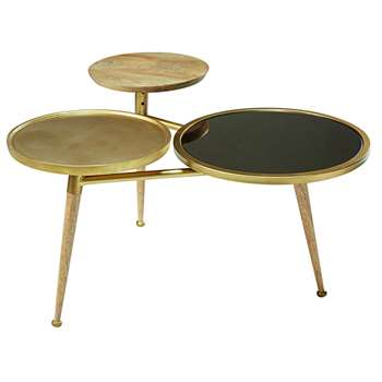 GATSBY Mango wood and gold metal coffee table (52 x 84cm)