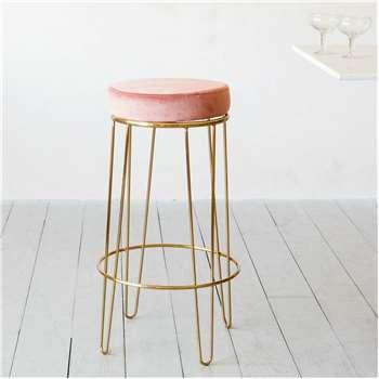 Gatsby Pink Velvet Bar Stool (H73.5 x W41 x D41cm)