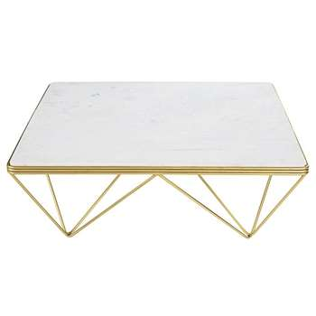 GATSBY Square Marble and Gold Metal Coffee Table (H36 x W100 x D100cm)