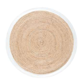 GAYA Round Woven Jute Mat with White Border (H180 x W180 x D2cm)