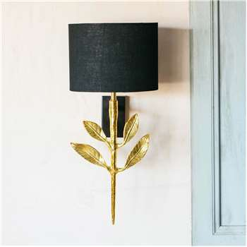 Genere Gold Wall Light with Shade (H33 x W12.5 x D18cm)