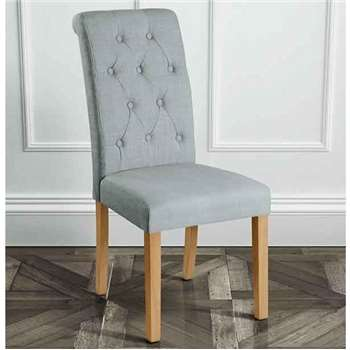 Genoa Grey Upholstered Scroll Back Dining Chair with Natural Legs (101 x 45cm)