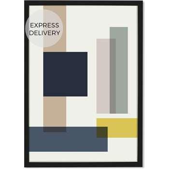 Geometric Rectangles 50 x 70 Framed Wall Art Print, Multicoloured (H70 x W50 x D3cm)
