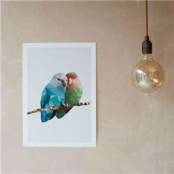 Geometric Two Love Birds Print (H42 x W29.5cm)