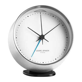 Georg Jensen - Henning Koppel Alarm Clock - Steel/White (Diameter 10cm)