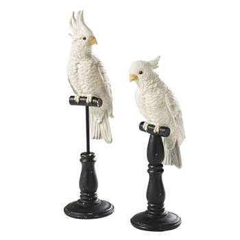 GEORGE - Ecru and Black Parrot Ornaments x 2 (H51 x W16 x D13cm)