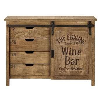 GERMAIN - Mango Wood 1-Door 4-Drawer Sideboard (H86 x W116 x D43cm)