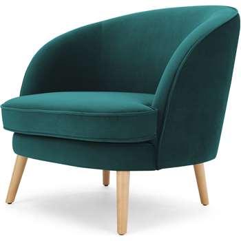 Gertie Accent Armchair, Seafoam Blue Velvet (H78 x W84 x D80cm)