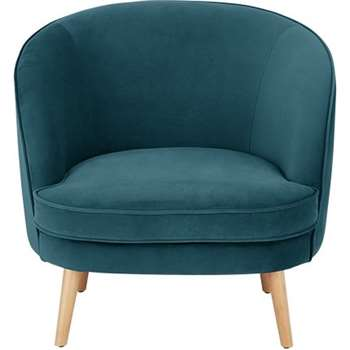 Gertie Accent Chair, Steel Blue Velvet (78 x 84cm)