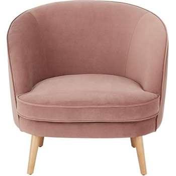 Gertie Accent Chair, Vintage Pink Velvet (H78 x W84 x D80cm)