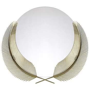 Ghidini 1961 - Sunset Mirror With Palm Leaves - Brass (H76 x W87 x D1.3cm)