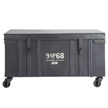 GIBSON metal industrial trunk on castors in black (46 x 84.5cm)