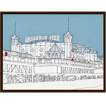 Gillian Bates - Brighton Pier, Dark Brown Framed Canvas (40 x 50cm)