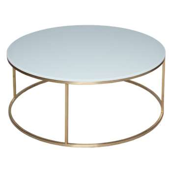 GillmoreSPACE Kensal White & Brass Circular Coffee Table (H39.6 x W100 x D100cm)