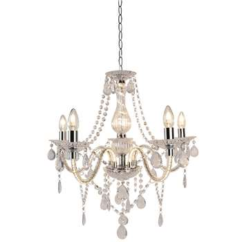 Ginabelle 5 Light Ceiling Light Polished Chrome (H116 x W64 x D64cm)