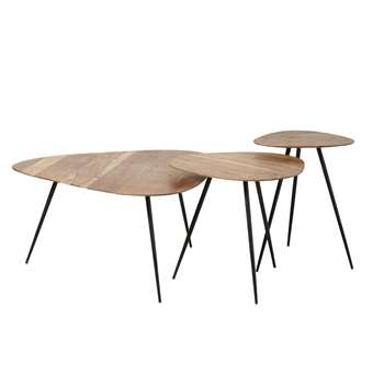 GINGERALL - Black Metal and Acacia Nesting Tables (H52 x W81 x D85cm)