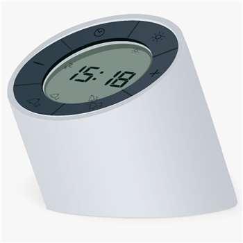 Gingko Edge Light Alarm Clock, White (H9.5 x W8 x D8cm)