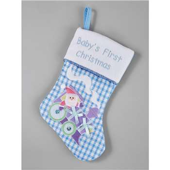Gisela Graham Baby's First Christmas Stocking - Blue (H35 x W18 x D2cm)