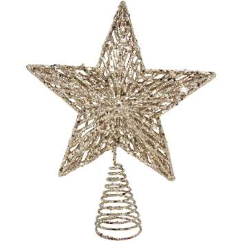 Gisela Graham Christmas White Gold Glitter Tree Top Star Topper (H23 x W17.5 x D5cm)