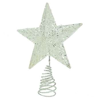 Gisela Graham Christmas Silver Glitter Tree Top Star Topper (22 x 18cm)