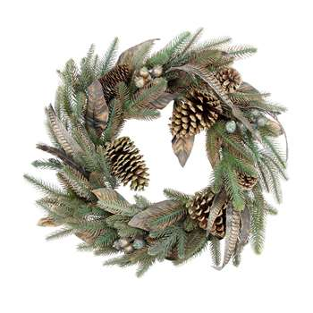 Gisela Graham - Copper Dusted Leaf Wreath (Diameter 58cm)