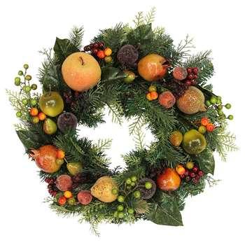 Gisela Graham - Fir Wreath with Fruit (Diameter 42cm)