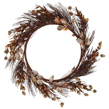 Gisela Graham - Glitter Twig and Leaf Wreath - Copper (Diameter 45cm)