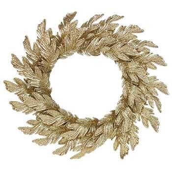 Gisela Graham - Gold Glittered Oak Leaf Wreath (H50 x W50cm)