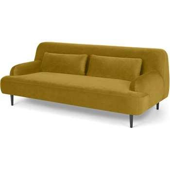 Giselle 2 Seater Sofa, Vintage Gold Velvet (H77 x W200 x D97cm)