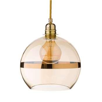 Giveij Pendant Lamp, Ochre & Brass 22 x 22cm