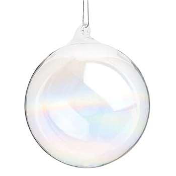 GLACIER - Iridescent Glass Christmas Bauble, Set of 12 (H8 x W8 x D8cm)