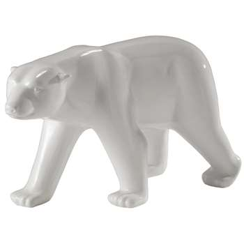 GLACIER resin bear statue in white (59 x 103cm)