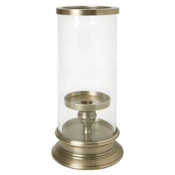 Glass And Brass Hurricane Lamp (28 x 12.5cm)