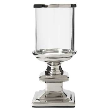Glass and Metal Mini Hurricane Tealight Holder (16 x 7.5cm)